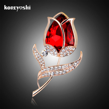 Ruby-jewelry tulip Flower Rhinestone brooch fine jewelry Glass brooches beautiful wedding dress brooches for women bijoux femme