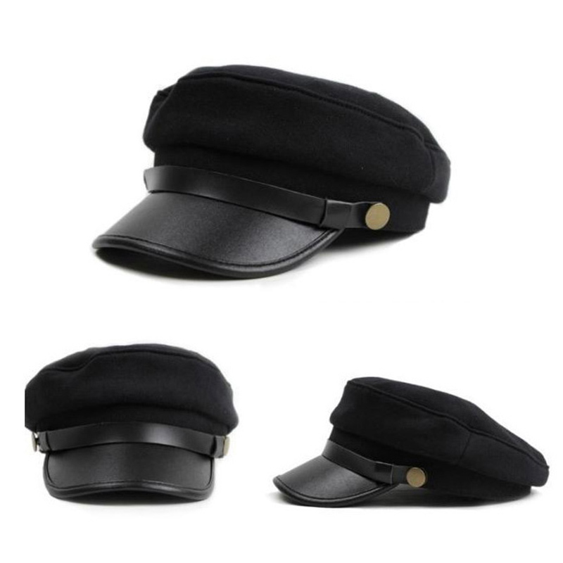 62991db6ef76c 1Pcs Military Cap Vintage Hats for Women Men Black Flat Top Hat Female Male  Beret Army