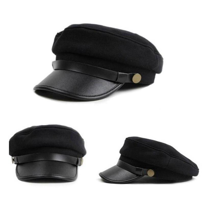 1 Stücke Military Cap Vintage Hüte Für Frauen Männer Schwarz Flachen Hut Weiblich Männlich Baskenmütze Armee Kappe Und Verdauung Hilft