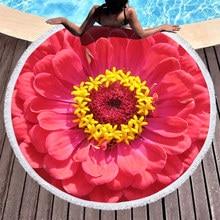 Pretty Cartoon Portrait Beach Towel Round Microfiber Towels for Living Room Home Decor Boho Style Bath