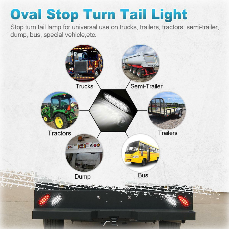 6 39 Oval 10Led Clear Backup Reverse Fog Light Bulb Grommet Plug Red Brake Tail Lamp for Turck Trailer Peterbilt FREIGHTLINER 12V in Signal Lamp from Automobiles amp Motorcycles