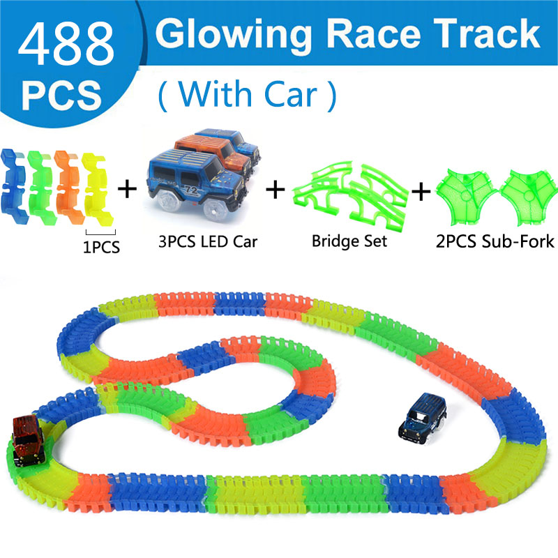 488Pcs Glowing Race Track Railway Magic Luminous Flexible Track Car Game Set Glow in Dark Electronic Light Car Racing DIY Toy