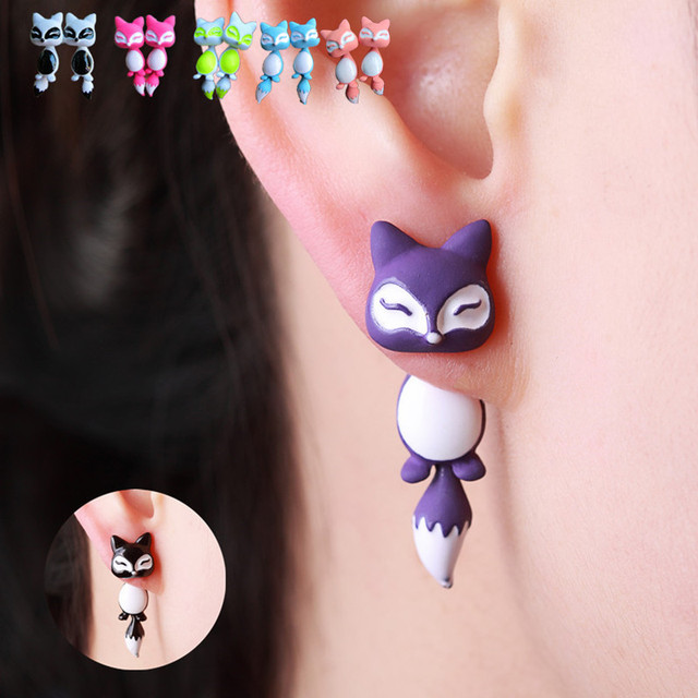 Cute Fox Stud Earrings, Colours of Yellow Purple Black Pink or Green