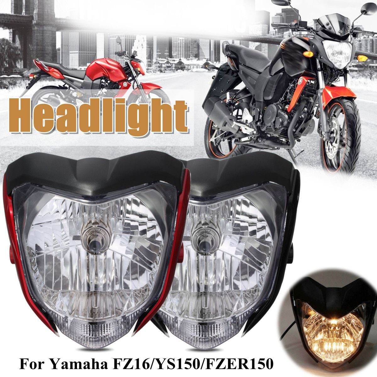 1Pcs Motorcycle Headlight With Bulb Bracket Fit For Yamaha FZ16 /YS150 / FZER150  ABS Plastic Headlight Assembly