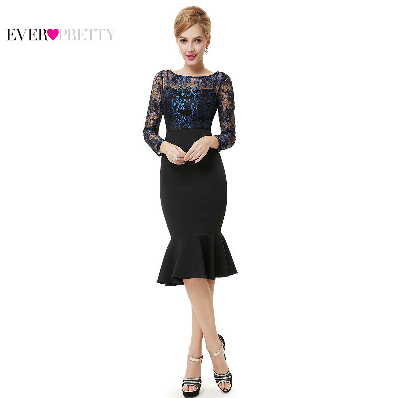 [Clearance Sale] Ever-Pretty Women Elegant   Cocktail     Dresses   Lace Ruffles Long Sleeve Bodycon Part Club   Cocktail     Dress