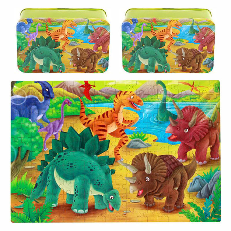 200pcs/set Dinosaur Wooden Puzzle Toys Kids Children Colorful Plane Puzzle Handmade Enlightenment Toy For Baby With Gift Box