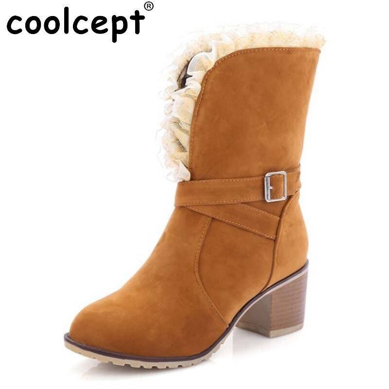 ФОТО Women Square Heel Boots Half Knee Short Fashion Lace Dress Botas Winter Warm Martin Boots Shoes Woman Footwear Size 34-43
