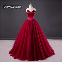 Newanwes New Style Wedding Dress Sweetheart Off Shoulder Lace Up Ball Gown Wedding Dress Burgundy Gentle