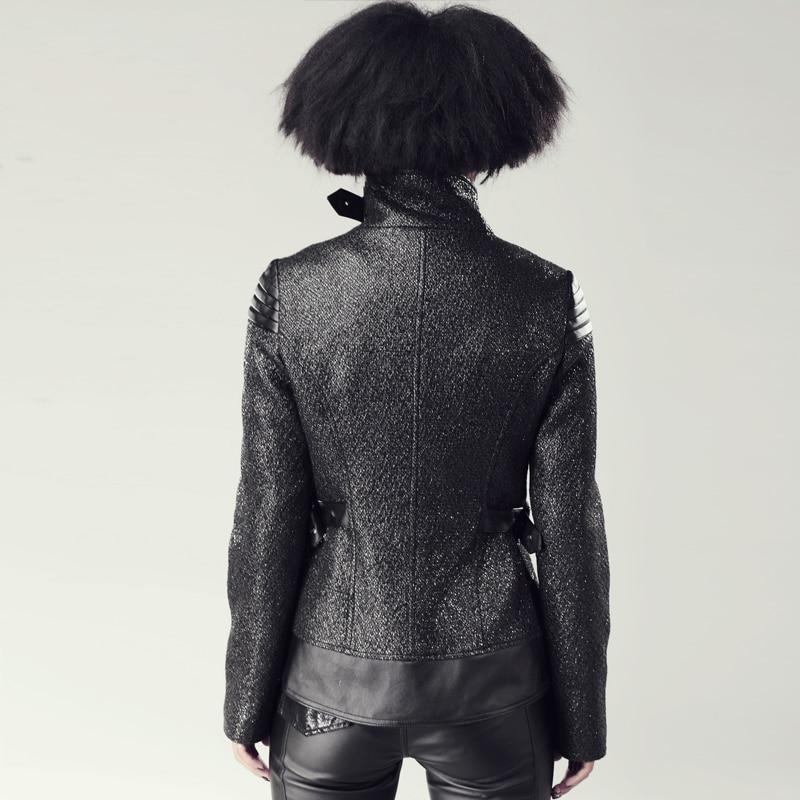 Veste Roulé Automne Steampunk Hiver Mode Pour À Gothique Noir Longues Manches Col Punk Court Femmes Manteaux EYxq1H61w