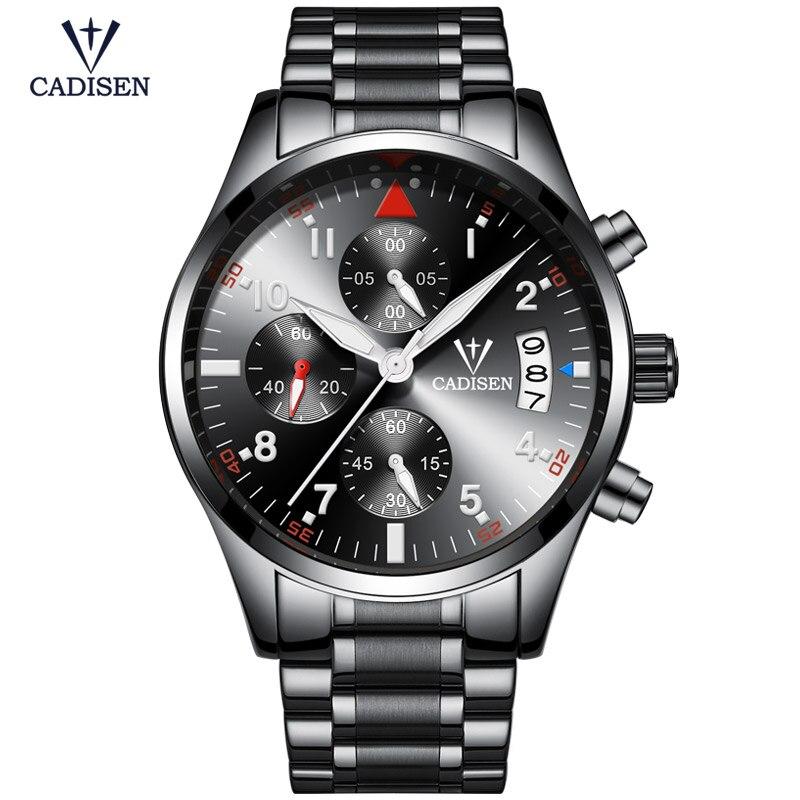 Cadisen Men's Stainless Steel Chronograph Quartz Watches Analogue Luminous Wristwatch for Man Black CS2013 clearaudio professional analogue toolkit