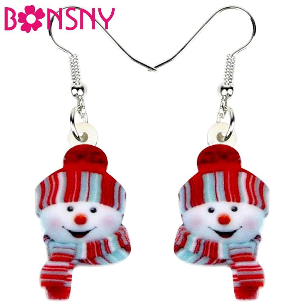 Bonsny Acrylic Christmas Happy Hat Snowman Earrings Drop Dangle Cartoon Decoration Jewelry For Women Girls Teens Charms Bijoux