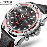 Jedir 2017 F1 deportes serie multifunción hombres relojes cronógrafo moda Cuero auténtico 3D dial reloj hombres Erkek saatler