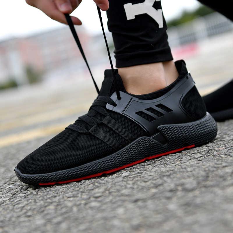 COOLVFATBO 2019 zapatos de hombre de moda Casual tejido Fly Mesh transpirable luz suave negro Slipon hombres zapatos zapatillas de deporte para hombre