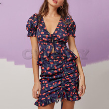 Cuerly Ruffle cherry print short women two piece dress Summer elegant party mini beach Lace up v neck cute daily  L5