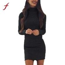 Feitong/Женская мода Платье облегающее с длинными рукавами мини-платье Повседневное водолазка новый осенний зимний свитер женский Платья для женщин