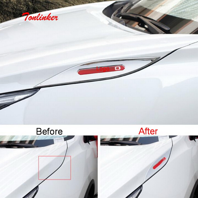 Tonlinker Exterior Headlight edge Cover case Stickers for Nissan Murano 2015-19 Car styling 2 PCS ABS Chrome stickers