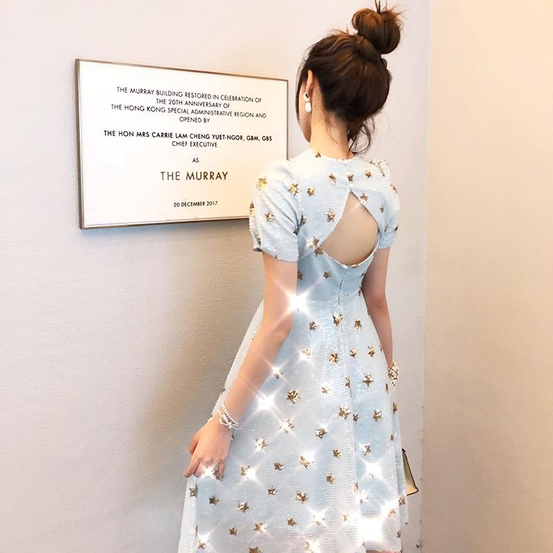 Kadın Giyim'ten Elbiseler'de Yeni dikkatli makinesi payetli elbise backless tasarım kadın uzun boylu bel yaz tatlı yıldız'da  Grup 1