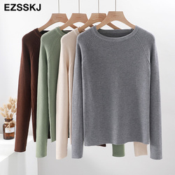 casual basic autumn winter thick Sweater Women long sleeve o-neck Soft Knit sweater Pullovers solid female  Jumper top 2