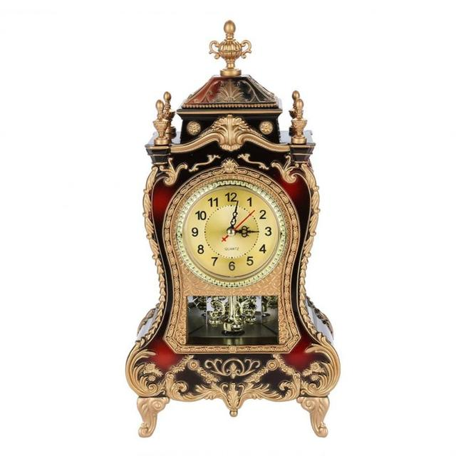 Vintage Style Plastic Table Clock Antique Home Hotel Decorative Desk     Vintage Style Plastic Table Clock Antique Home Hotel Decorative Desk Alarm  Clocks Brownish Red