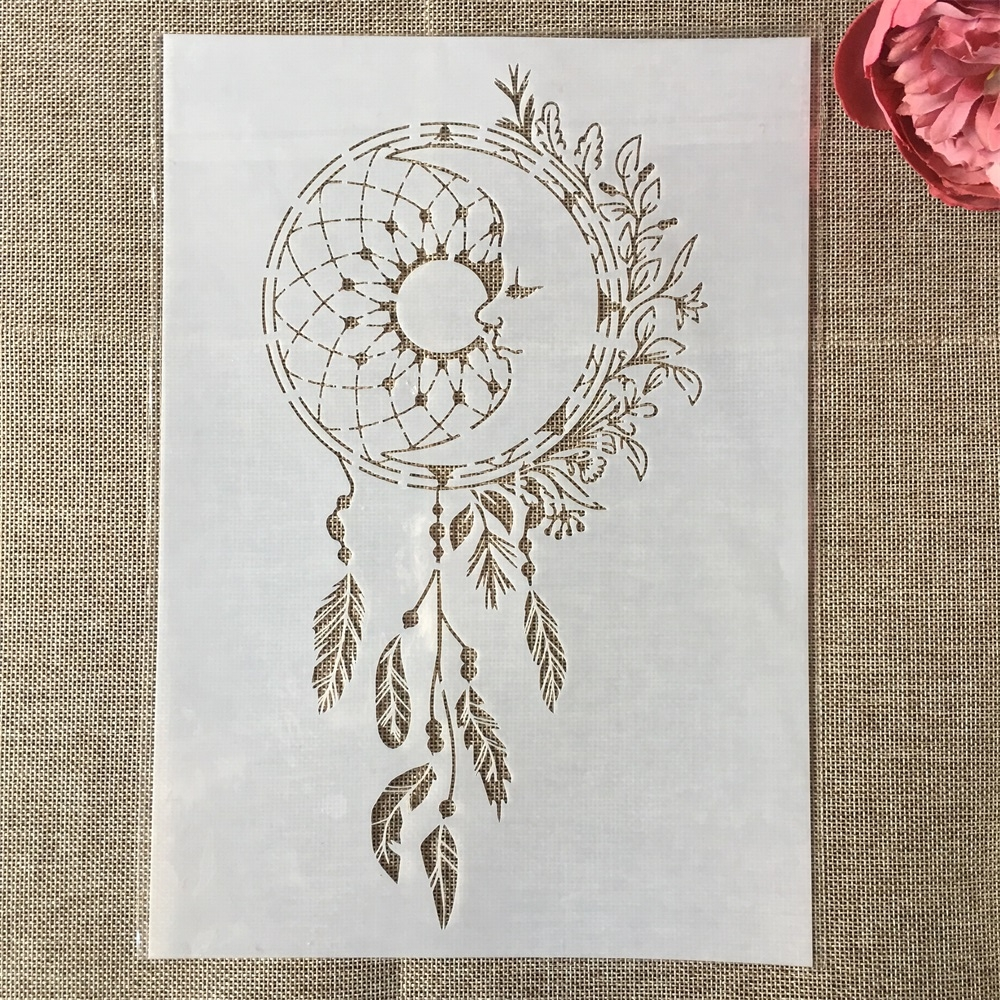 29*21cm Wheel Feather Tassel Leaves DIY Layering Stencils Painting Scrapbook Coloring Embossing Album Decorative Card Template