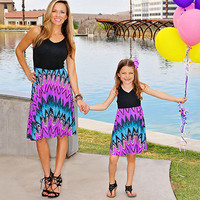 2017 Mommy Me Family Matching Mother Daughter Dresses Clothes Striped Print Kids Parent Child Summer Amusement