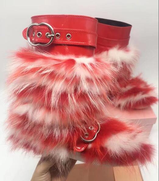 Fourrure Renard Clair Femmes 41 Lapin rabbit rouge bleu Verni 35 Fur Ou Fur Hiver Plat Courtes Marque Bottes En veau Cuir Mi Fur De Rabbit Boucle fox Taille Noir 5cRq4LASj3