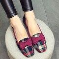 Mulheres elegantes Sapatos Dos Pés Quadrados 2017 Marca de Luxo Designer Mulheres Flats Shoes Bowtie Apartamentos Das Mulheres Sapatas Lisas Das Senhoras Xadrez X122203