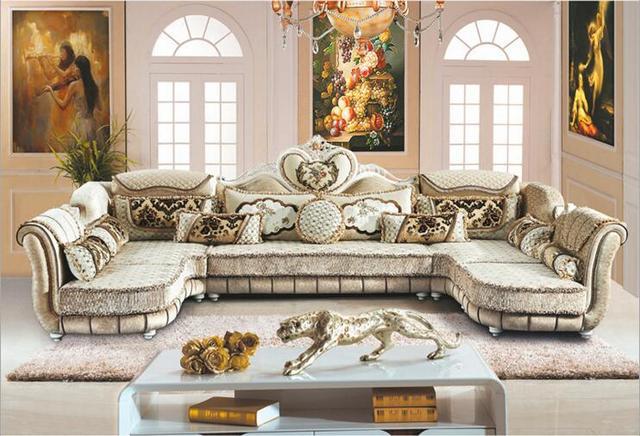 Living Room Furniture Modern Fabric Sofa European Sectional Set A1259