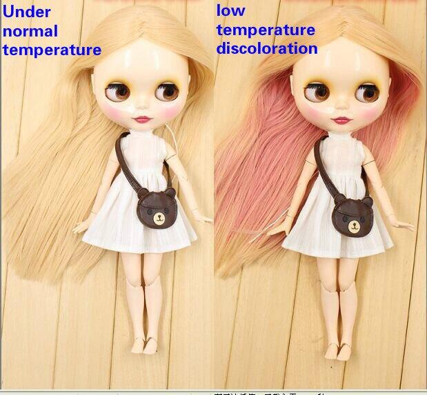 Cheveux décolorés Beige devient rose joint corps Nude Blyth poupée rose cheveux mode poupée usine-in Poupées from Jeux et loisirs    1