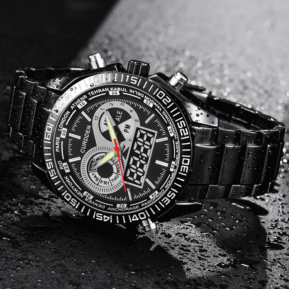 CURDDEN Brand Watch New Fashion Digital Men Full Steel Led Watch Mens Japan Movt Waterproof Chronograph Watch Relogio Masculino