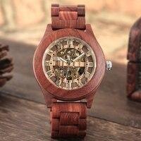 Vintage Rood Sandelhout Horloge mannen Automatische Mechanische Horloge Romeinse Nummer Dial Analoge Mannen Volledige Houten Band Unieke Horloges