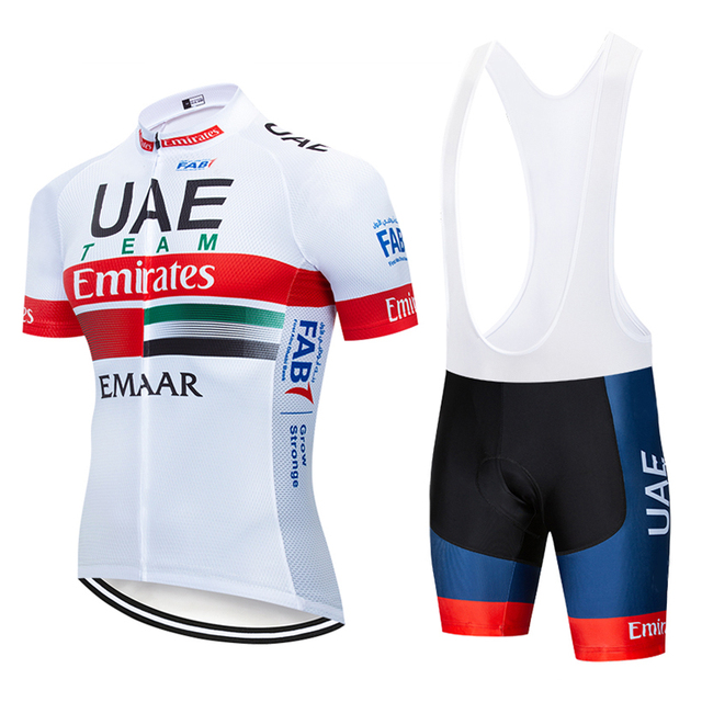 25a27028124 New 2019 UAE Cycling team Clothing Bike jersey 12D gel pads shorts set mens  Quick Dry