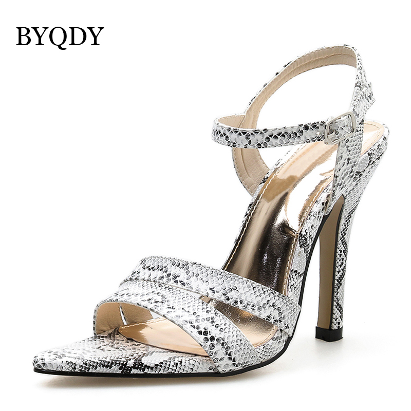 BYQDY New Fashion Women Sandals Serpentine Thin High Heels Open Toe Ankle Strap Buckle Strap Shoes Ladies Shoes For Summer Pumps