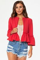 Spring Autumn Women Fashion Ruffles Butterfly Sleeve Jacket Casual Short Tops Ladies Coats