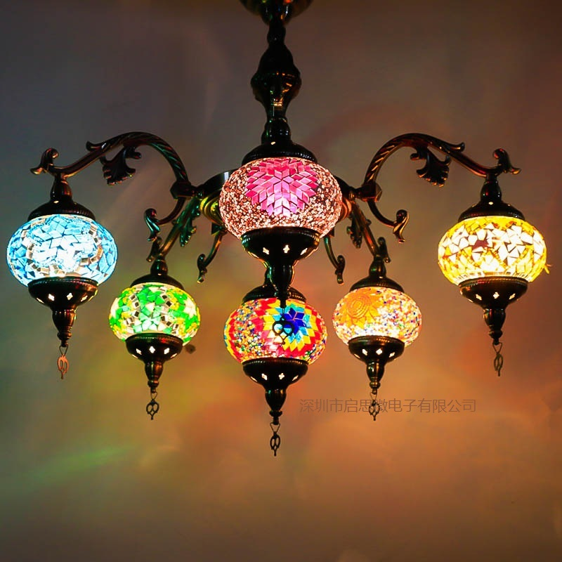 5-6 heads E14 Hand-inlaid glass mosaic lamp romantic cafe restaurant bar hotel Pendant light Mediterranean style Turkish Lamp the mediterranean restaurant in front of the hotel cafe bar small aisle entrance hall creative pendant light