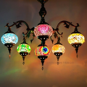 Lámpara de mosaico de cristal con incrustaciones de mano E14, 5-6 cabezas, luz colgante romántica para bar, café, restaurante, hotel, lámpara de estilo turco de estilo mediterráneo