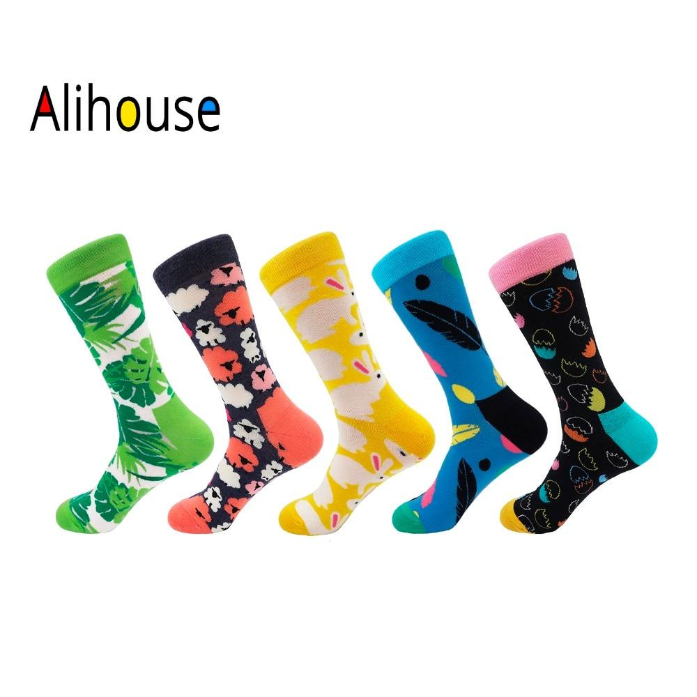 Alihouse Men Socks Happy Socks 5 Pairs/lot Colorful Printing Bunny Leaves Pattern Cotton Casual Dress Wedding Crew Socks Men