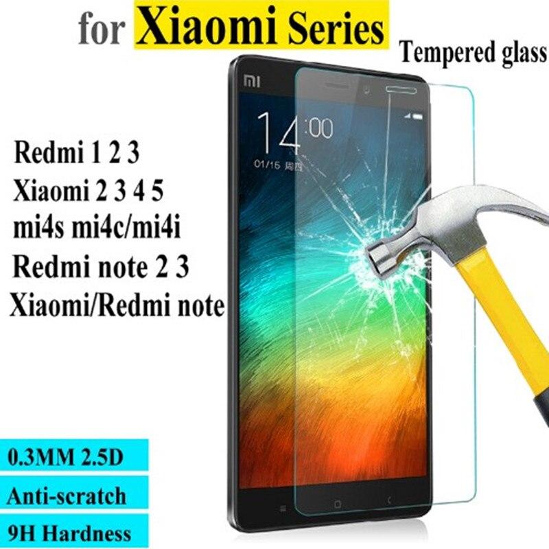 Top Quality 0.3mm 2.5D Premium Tempered Glass for Xiaomi Redmi Redrice note 2 3 1 pro prime Mi 2 s a 3 4 5 4i 4C 4S + Clean kits