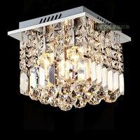 High Quality Modern Fashion Luxurious Square K9 Crystal Led E14 2 Ceiling Lamp For Corridor Aisle