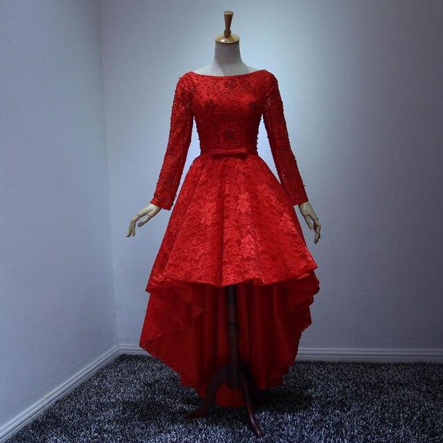 c8bb7ff7646b Red Tea Length Lace Prom Dress 2016 Elegant Long Sleeves Beading Asymmetrical  Evening Dress Tailor Made 5colors Formal Dress
