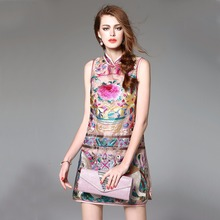 High Quality Chinese Women's Organza Dress Embroidery Floral Modern Cheongsam Dress Sexy Slim Sleeveless Qipao S M L XL MD017