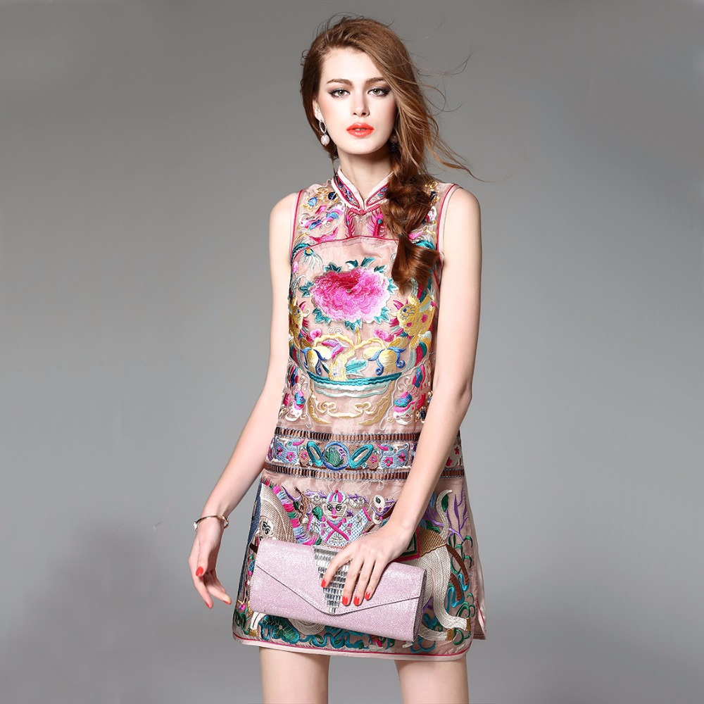 High Quality Chinese Women's Organza Dress Embroidery