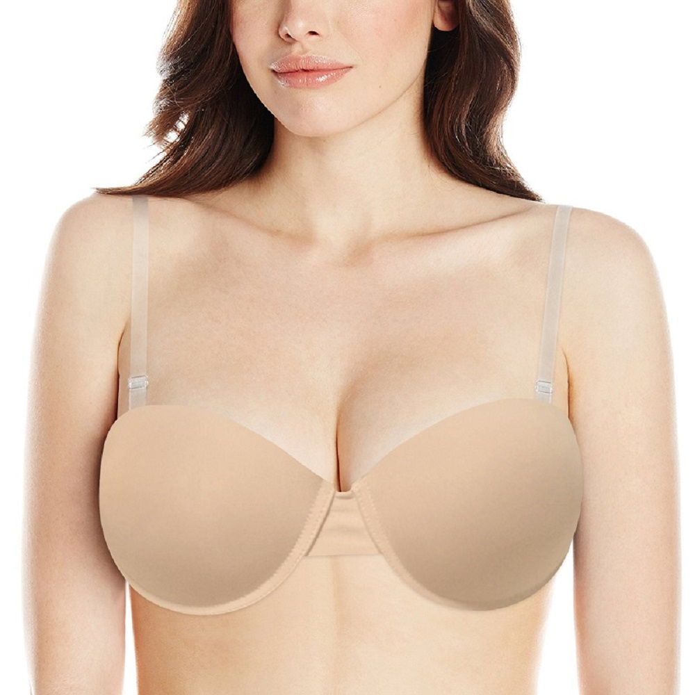 Clear Back Transparent Bra Women Padded Push Up Bra Strapless Convertible Adjusted Large Half Cup Simple Sexy Lingerie Everyday