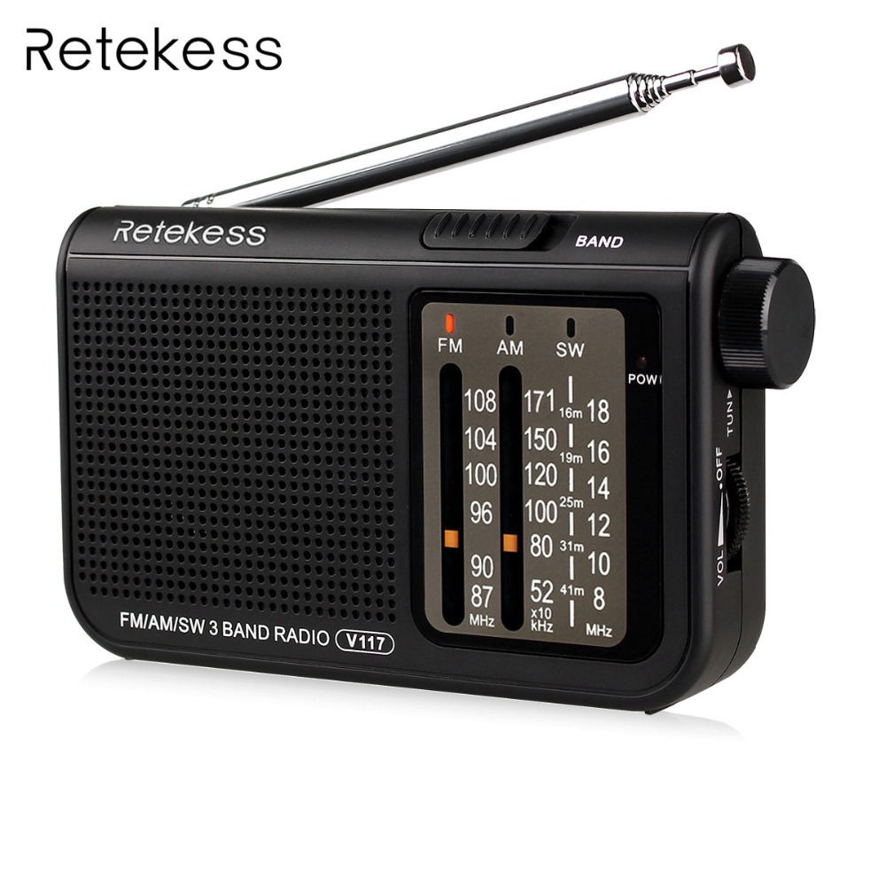 Retekess V-117 3 Band FM / AM / SW Radio Battery Powered Emergency Radio Receiver Portable Radio Station F9207A цена 2017