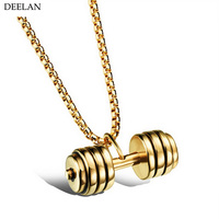 Men S Sporty Jewelry New Fashion Gold Black Silver White Plated Dumbbe Accessories Casual Stainless Steel