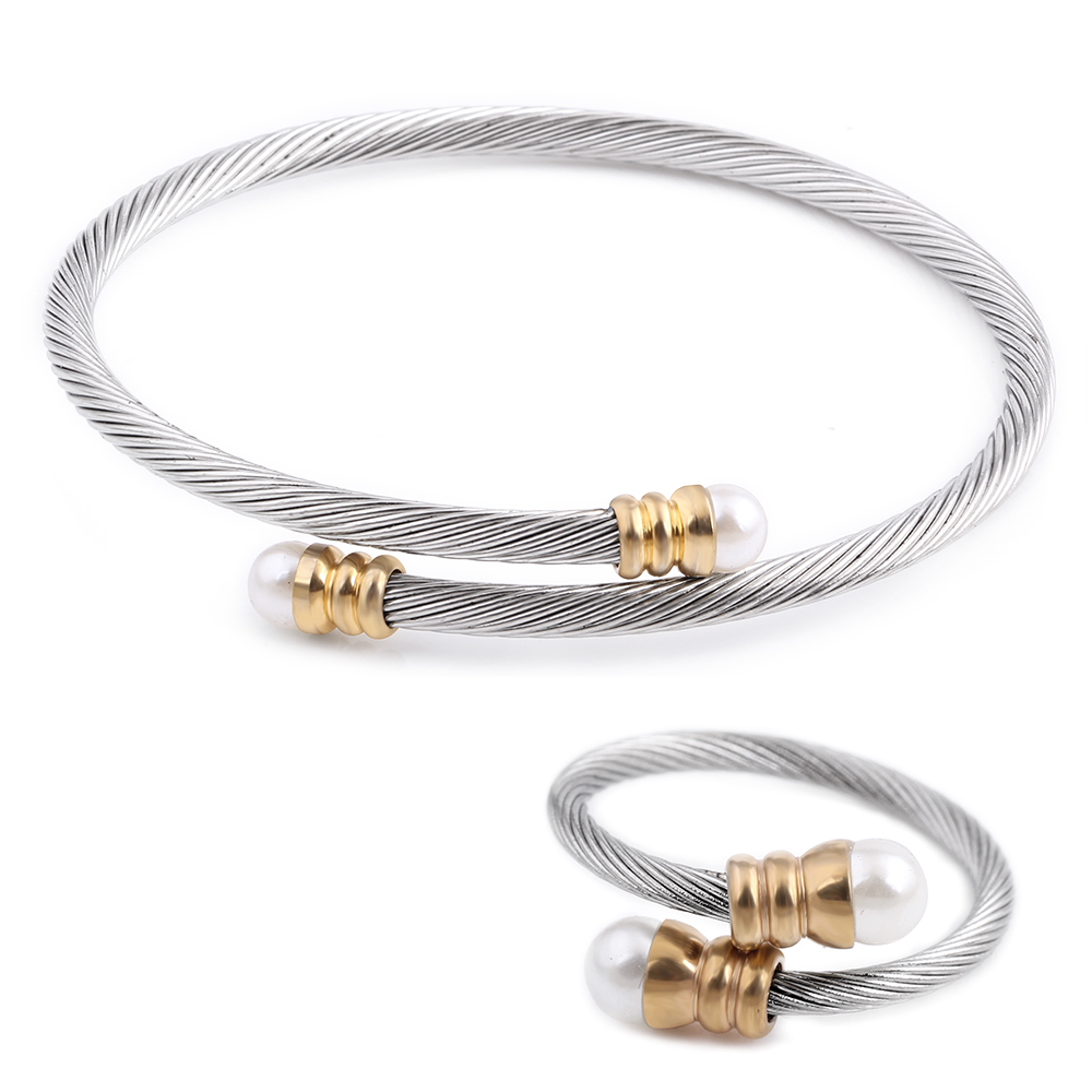 Trendy Jewelry New Fashion Stainless Steel & Metal Adjustable Gold Silver Cuff Bracelet Bangle Ring Pearl Jewelry Set faux pearl rhinestoned cartilage ear cuff set