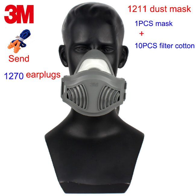 3M 1211 respirator dust mask KN90 particulates respirator mask against dust pollen PM2.5 microorganism filter mask airborne pollen allergy