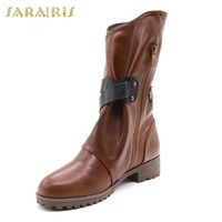 SARAIRIS hot sale large Size 34 43 wholesale buckles western boots Woman Shoes women's shoes ankle Boots woman cowboy boots