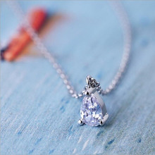 New Arrival Exquisite 925 Silver Korean Simple Jewelry Small Crystal Water Drop Female Pendant Necklace   H142