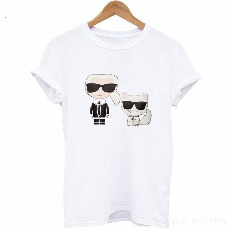 Summer Karl Lagerfeld camisetas Women Harajuku   T  -  shirt   Couple Clothes Girlfriend Gift   t     shirt   Femme